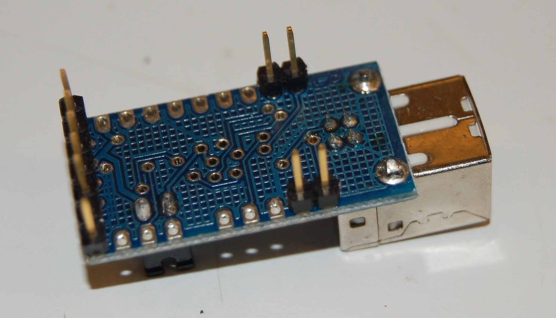 Building A Soprano T Stick Joseph Malloch Micro Usb 7 Pin Wiring Schematic Place The Arduino Mini And Adapter As Shown Solder In Connect Pins Diagram Below