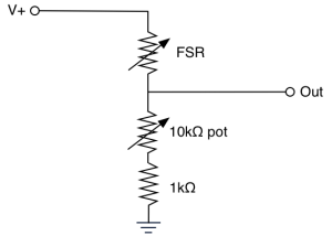 Voltage divider for the T-stick pressure sensor