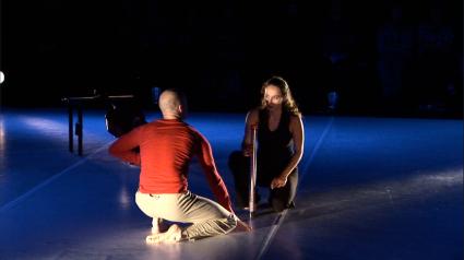 Dancer Elijah Brown and 'cellist Chloé Dominguez play the SpaT-Stick in a performance of Duo pour un violoncelle et un danseur.