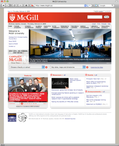 Screenshot of the McGill University homepage