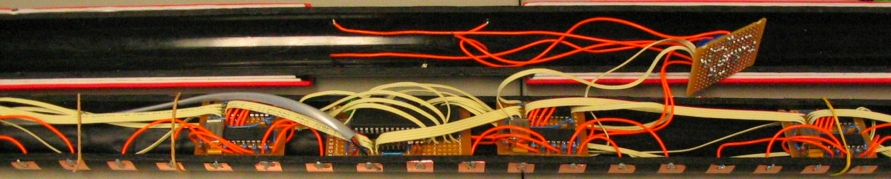 The inside of a first-generation T-Stick prototype