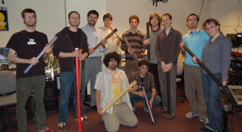 Class photo after the first Digital Musical Instruments seminar to involve the construction of T-Sticks.