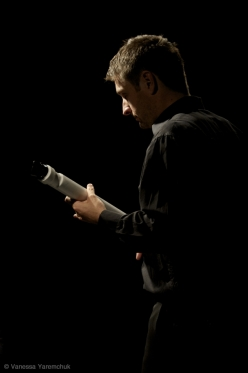 Composer/performer D. Andrew Stewart playing a soprano T-Stick. Photograph by Vanessa Yaremchuk.