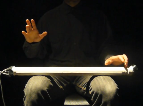 Composer/performer D. Andrew Stewart playing a soprano T-Stick.