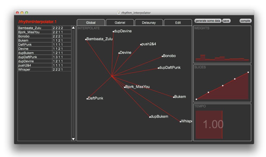 """Rhythm Interpolator GUI in """"global"""" interpolation mode – all rhythm samples are weighted according to distance from the cursor."""