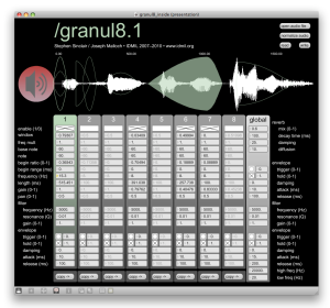 Screenshot of the Granul8 synthesizer