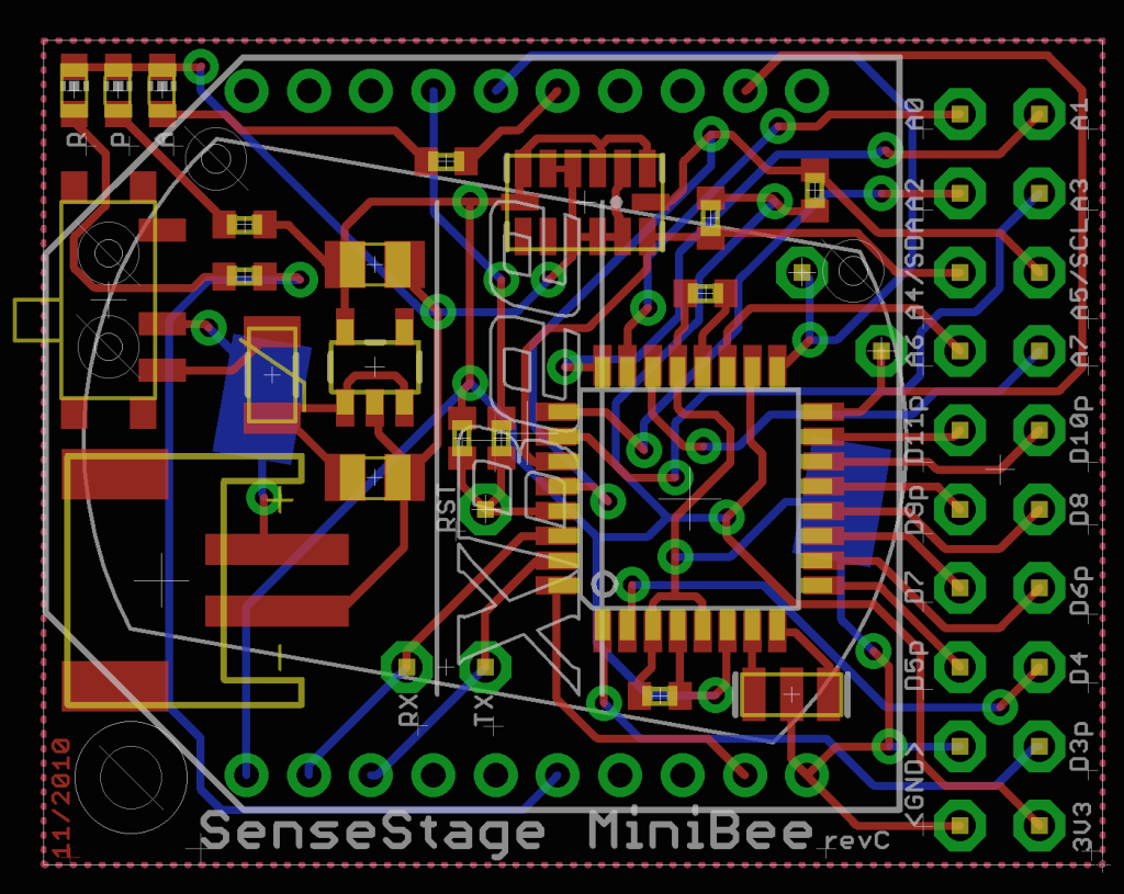 PCB Layout for the Sense/Stage MiniBee wireless mote.
