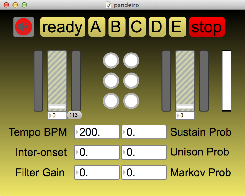 """Screenshot of the MaxMSP patch used for the piece """"Duo improvisation for pandeiro and laptop""""."""