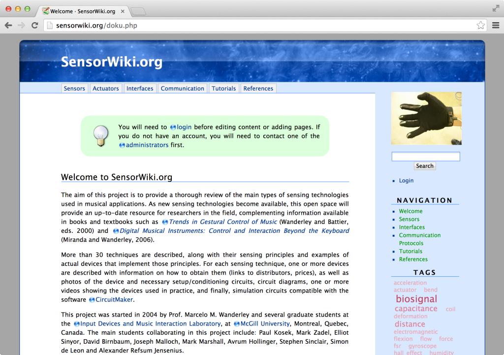 sensorwiki.org Screenshot