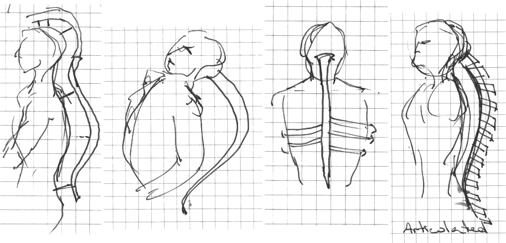Design sketches of the Spine digital musical instrument by Joseph Malloch.
