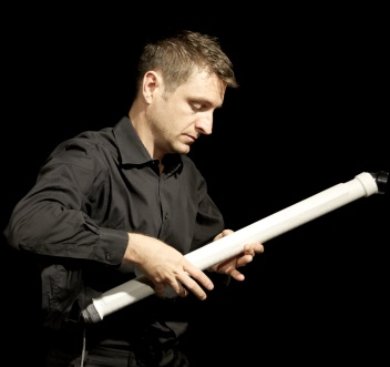 Composer/instrumentalist D. Andrew Stewart performing the soprano T-Stick.